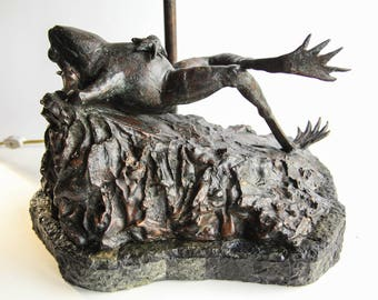 Vintage Maitland-Smith Bronze Frog Lamp Handmade Philippines  ~ Bronze Sculpture Lighting ~ Relaxing Reclining Frog