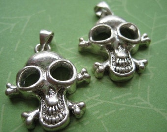 Smiling Skull Charms - set of 2 - Halloween Day of the Dead