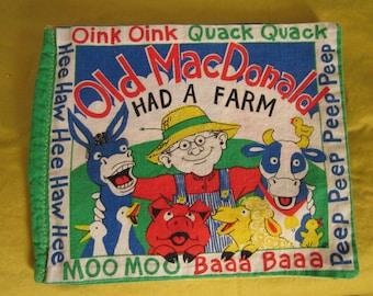 Vintage Fabric Story Book Old MacDonalds Farm Fairy Tale Poem