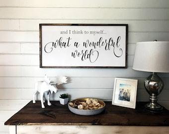 What a Wonderful World - Louis Armstrong Lyrics | Wooden Framed Sign | Nursery Decor | Wall Sign | Framed Wood Sign | Lyrics Wood Sign