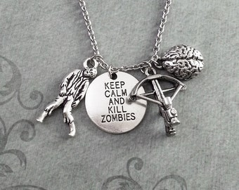 Keep Calm and Kill Zombies Necklace Zombie Jewelry Zombie Necklace Brain Necklace Zombie Apocalypse Gift Zombie Survival Crossbow Necklace