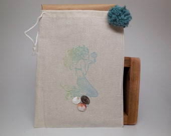 Hand-stamped cotton gift bag...Mermaid