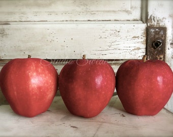 "Food Photography, Country Kitchen Still Life, Food Art, Kitchen Art, Apple Photo, Fruit Art, Rustic Farmhouse Wall Decor- ""Red Delicious"""