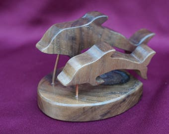 Swimming Dolphin pair made of fine woods, poplar, walnut, Brazil yellowheart.