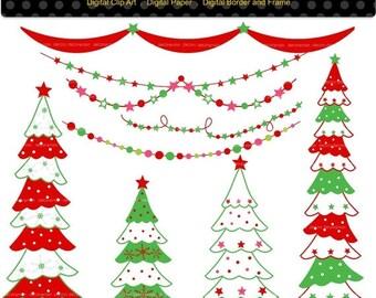 ON SALE Christmas Tree Clip Art _ Christmas Clip Art, Bunting Clip Art, digital clipart