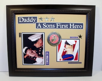 Marine Dad Military Dad Father and Son or Daughter Photo Keepsake UNFRAMED 11x14 Insert Army, Navy, Air Force, Marines Available