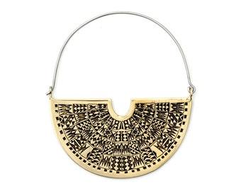 Fan Hoop Earrings - Boho Earrings  -  Art Deco Earrings - Geometric Earrings