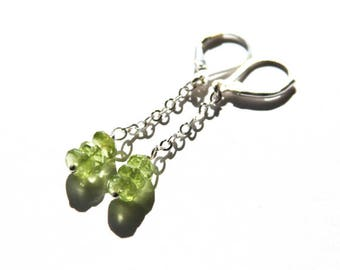 Peridot Earrings Long Chain Dangle Sterling Silver Earrings Faceted Light Green Earrings Long Earrings Elegant Minimalist Earrings #18625