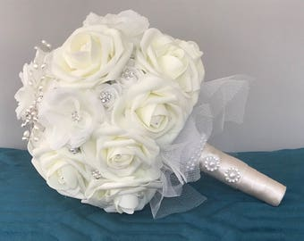 Ivory White Diamond Rose Brooch Bridal Bouquet, weddings, bride, forever bling keepsake bouquet