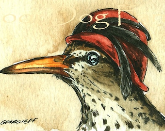 ACEO signed PRINT - Gretrude the Spotted Sandpiper