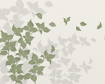 Green Leaf Wall Art Print 5 x 7, Nature Inspired Home Decor, Silhouette, Wind Blowing Leaves , Tree Branch (173)