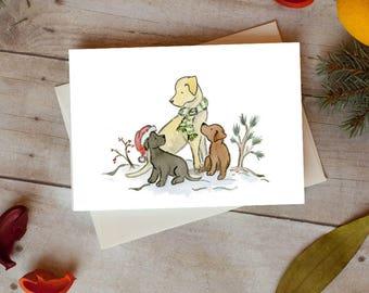 Labrador Christmas Card, Lab Holiday Card 5 x 7  Card, Pack of 12, Pack of 24, Dog Christmas Card, Dog Gift, Black, Yellow, Chocolate