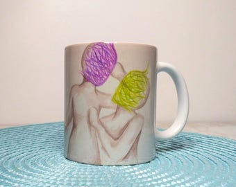 Couple mug, For Wife,  For husband, Anniversary gift, Wife to husband, Love art, HUSBAND to wife, Couple drawing, Engagement mugs, for him