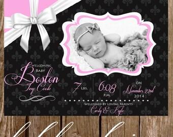 Baby Girl Photo Announcement