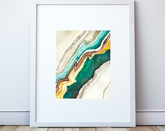 Agate Abstract Watercolor: Art Print, Agate Art, in Turquoise