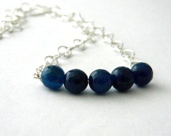 Dark Blue Stone Chain Necklace Lobster Clasp 18 Inch