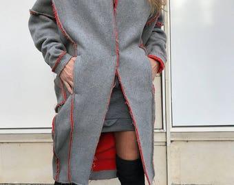 Asymmetric Gray Coat / Paradox / Ankle Length Jacket / Street Fashion Vest / Winter Outerwear / Women's Clothing / PC0311