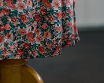 vintage coral flower print skirt size small