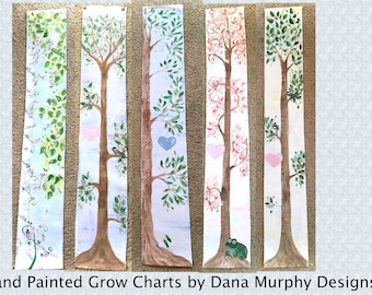 Painted Grow Chart, Made to Order, Handpainted Children's Growth Chart, Custom Orders,  Personalized, Birds, #GC147