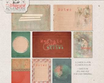 Under The Sea, Pocket Cards, Mermaids Journal Cards, Mermaid Fairy Tale, Aquatic World, Digital Download, Project Life Scrapbook Supplies,