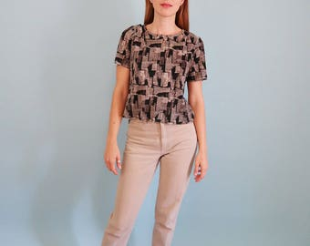 Slouchy/Casual Black and Beige Pleated Tee with Abstract Pattern