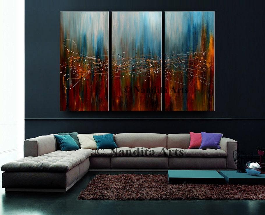 Gro e wand kunst original abstrakte malerei acryl home decor for Petrolblau wandfarbe