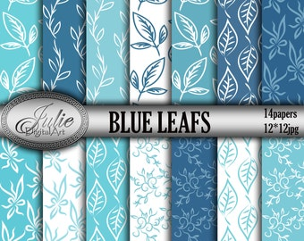 Blue foliage digital paper Floral blue digital paper Floral background Leaves digital paper Foliage background Leaf blue white digital paper
