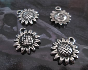 10 charms sunflower acrylic silver 19 x 16 mm