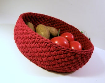 Large Storage Basket, Handmade Fruit bowl, Bread Basket or Sewing basket