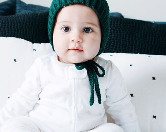 Crochet Baby Hat, Pixie Bonnet, Toddler Hat, Knit Baby Hat, Hunter Green,  Ribbed Crochet pixie bonnet, Spring bonnet, Winter Bonnet