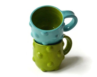 Ceramic Mug Set - Bumpy Mugs - Green Turquoise Mug Set - Textured Mugs