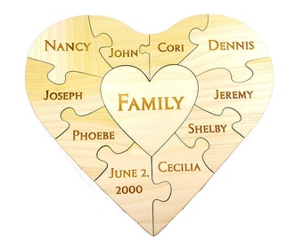 Custom Family Wooden Heart Puzzle - Family Unity Puzzle - Pregnancy Puzzle - Wedding Announcement Puzzle - Baby Reveal - 11 PC - Engraved