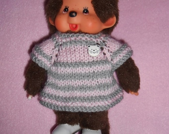 Clothing (dress or pullover) plush Kiki or Monchhichi - 20 cm - pink and gray deco kitten