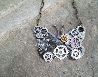 Sale steampunk butterfly necklace 2