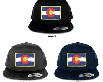 FLEXFIT 5 Panel Colorado Western State Flag Embroidered Patch Snapback Mesh Back Cap (6006-FPA506)