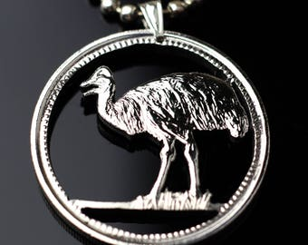 Papua New Guinea 20 Toea cut coin pendant with necklace Cassowary bird of paradise Raggiana