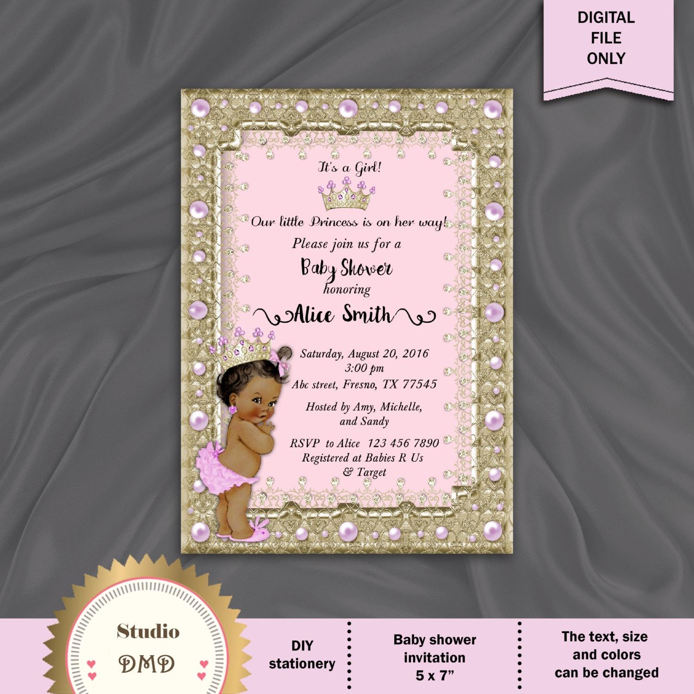 Princess Baby Shower Invitation Little Princess Baby Shower