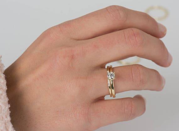 Solitaire Diamond Ring Set 14k Yellow Gold Set Wedding Ring
