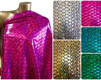 Shiny Holographic Foil Mermaid Scales Pattern on Black Stretch Nylon Spandex Shiny Tricot Fabric - 58 to 60 Inches Wide - By the Yard