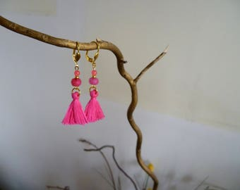 Earrings Fuchsia tassel and glass beads
