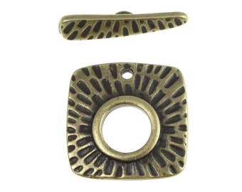 Large Antique Brass Toggle Findings - TierraCast RADIANT CLASP Findings - Brass Oxide Antique Bronze Textured Metal Brass Toggle (PF486)