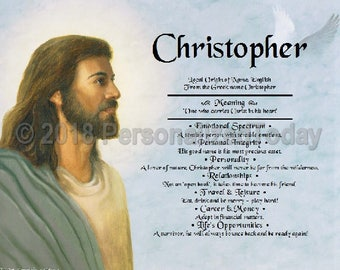 Jesus Name Meaning Origin Print Name Personalized Certificate 8.5 x 11 Custom Name Religious Christian Christ Inspirational Bible Verse Art