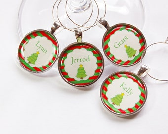 Personalized wine charms, Christmas Tree, Wine Charms, custom, Christmas Wine Charms, Wine Glass Charms, Red, Green, stocking stuffer (2870)