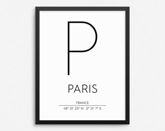 Paris France Print, Paris Poster, Paris Coordinates Printable, Paris Wall Art, Paris Decor, Travel Poster