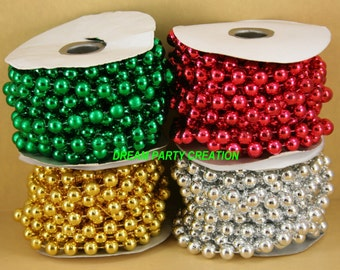 10MM Faux Pearl Plastic BEADS on a String Garland (1 Spools - 18 Feet Total)