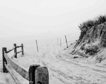 Black and white photograph of Nauset Beach in Fog