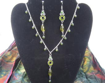 Green Goddess Necklace earring set