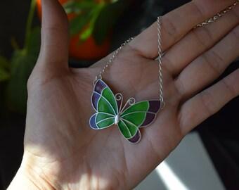 Butterfly pendant in silver and fire enamel