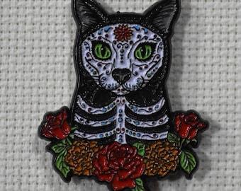 Day of the Dead Cat TigerPixie Art Needleminder
