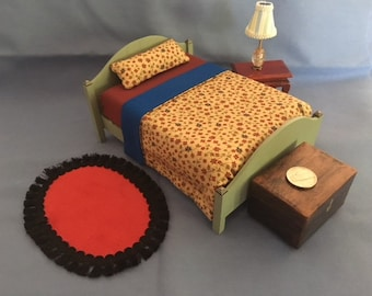 Miniature Bed, Dollhouse Furniture,Wooden Bed